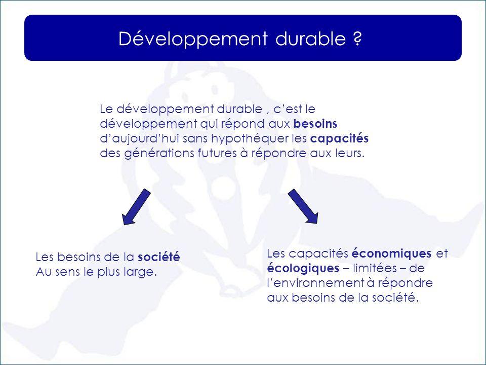 Développement durable ? Le développement durable, cest le développement qui répond aux besoins daujourdhui sans hypothéquer les capacités des générati