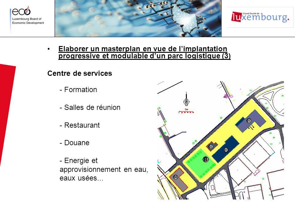 Elaborer un masterplan en vue de limplantation progressive et modulable dun parc logistique (3) Centre de services - Formation - Salles de réunion - R