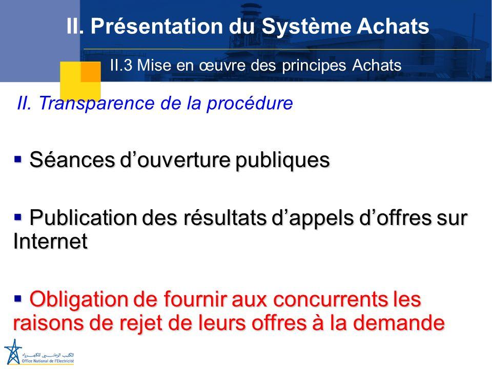 II.3 Mise en œuvre des principes Achats II. Présentation du Système Achats II. Transparence de la procédure Séances douverture publiques Séances douve