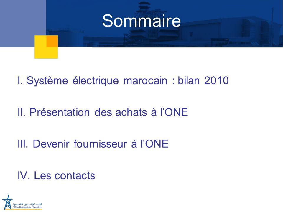 Sommaire I. Système électrique marocain : bilan 2010 II. Présentation des achats à lONE III. Devenir fournisseur à lONE IV. Les contacts
