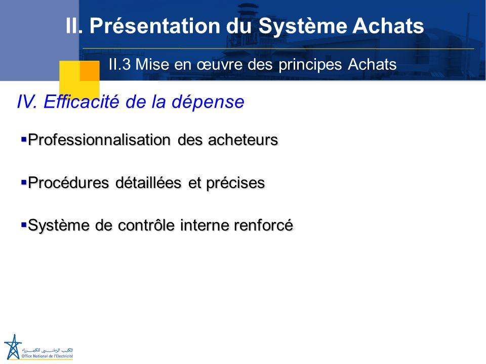 II.3 Mise en œuvre des principes Achats II. Présentation du Système Achats IV. Efficacité de la dépense Professionnalisation des acheteurs Professionn