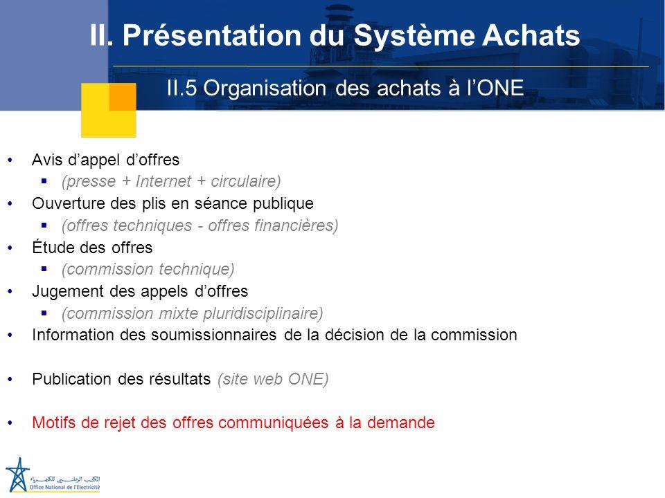 II.5 Organisation des achats à lONE II. Présentation du Système Achats Avis dappel doffres (presse + Internet + circulaire) Ouverture des plis en séan