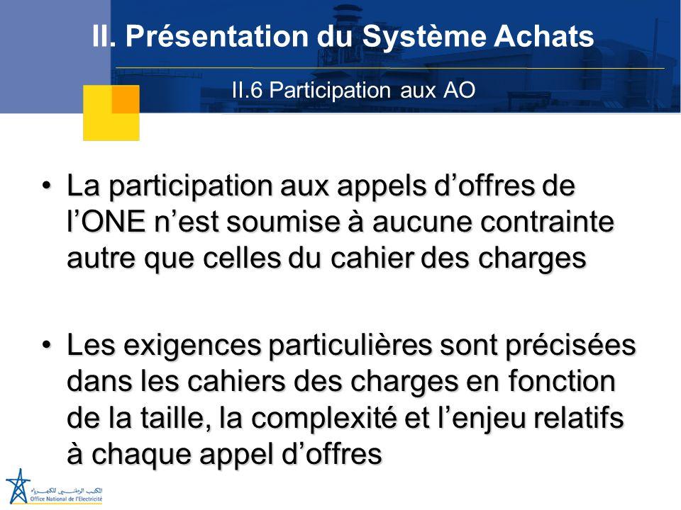 II.6 Participation aux AO II. Présentation du Système Achats La participation aux appels doffres de lONE nest soumise à aucune contrainte autre que ce