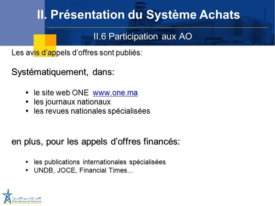 II.6 Participation aux AO II. Présentation du Système Achats Les avis dappels doffres sont publiés: Systématiquement, dans: le site web ONE www.one.ma