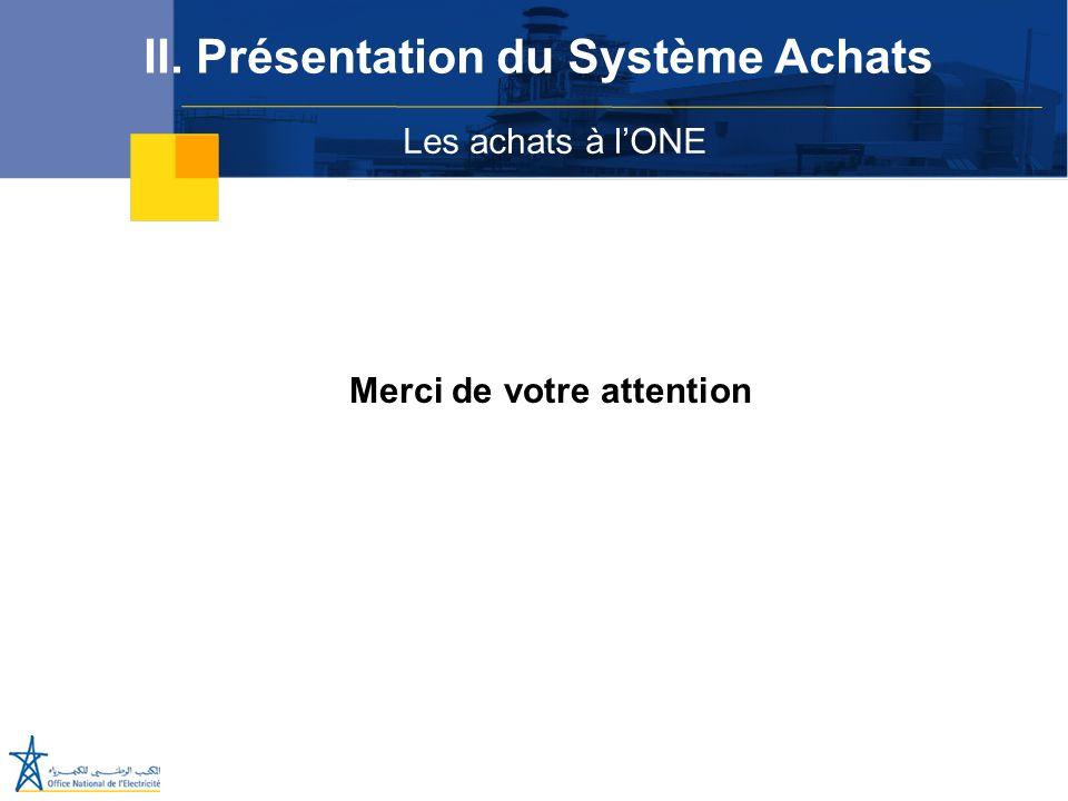 Les achats à lONE II. Présentation du Système Achats Merci de votre attention