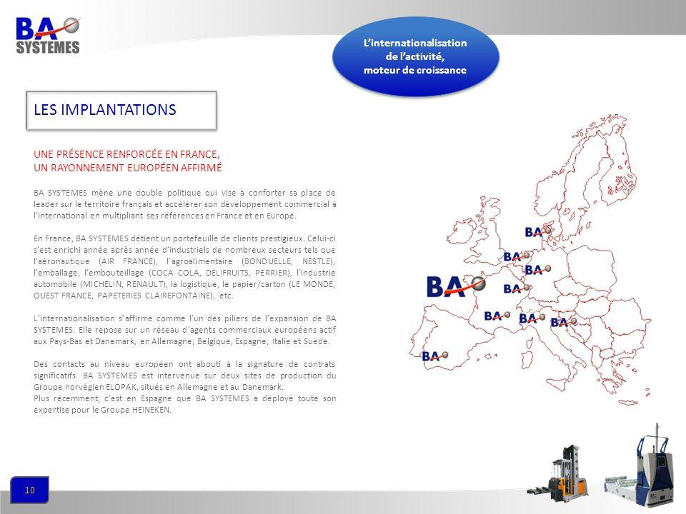 10 BA SYSTEMES mène une double politique qui vise à conforter sa place de leader sur le territoire français et accélérer son développement commercial