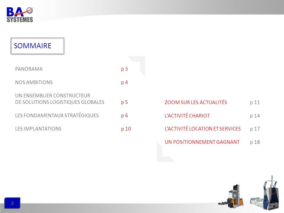 2 SOMMAIRE PANORAMAp 3 NOS AMBITIONSp 4 UN ENSEMBLIER CONSTRUCTEUR DE SOLUTIONS LOGISTIQUES GLOBALESp 5 LES FONDAMENTAUX STRATÉGIQUESp 6 LES IMPLANTAT