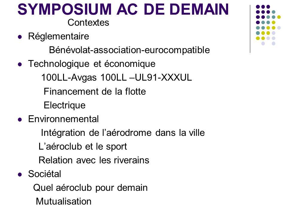 SYMPOSIUM AC DE DEMAIN Contextes Réglementaire Bénévolat-association-eurocompatible Technologique et économique 100LL-Avgas 100LL –UL91-XXXUL Financem