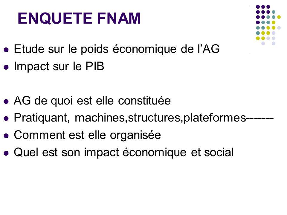 ENQUETE FNAM Etude sur le poids économique de lAG Impact sur le PIB AG de quoi est elle constituée Pratiquant, machines,structures,plateformes-------