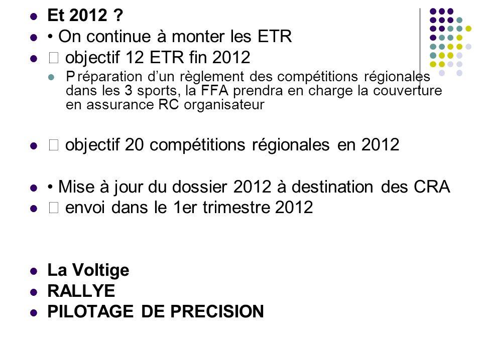 Et 2012 ? On continue à monter les ETR objectif 12 ETR fin 2012 Préparation dun règlement des compétitions régionales dans les 3 sports, la FFA prendr