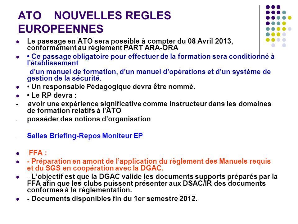 ATO NOUVELLES REGLES EUROPEENNES Le passage en ATO sera possible à compter du 08 Avril 2013, conformément au règlement PART ARA-ORA Ce passage obligat
