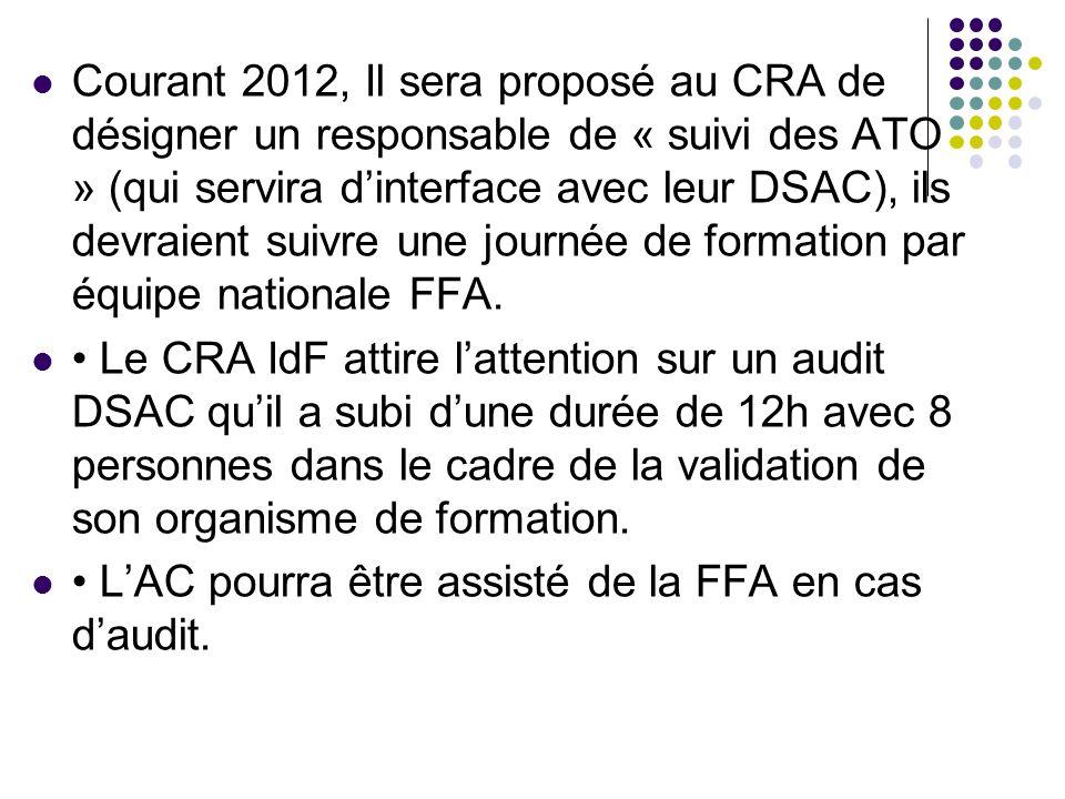 Courant 2012, Il sera proposé au CRA de désigner un responsable de « suivi des ATO » (qui servira dinterface avec leur DSAC), ils devraient suivre une