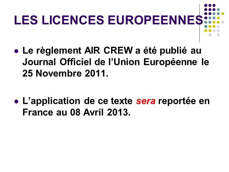 LES LICENCES EUROPEENNES Le règlement AIR CREW a été publié au Journal Officiel de lUnion Européenne le 25 Novembre 2011. Lapplication de ce texte ser