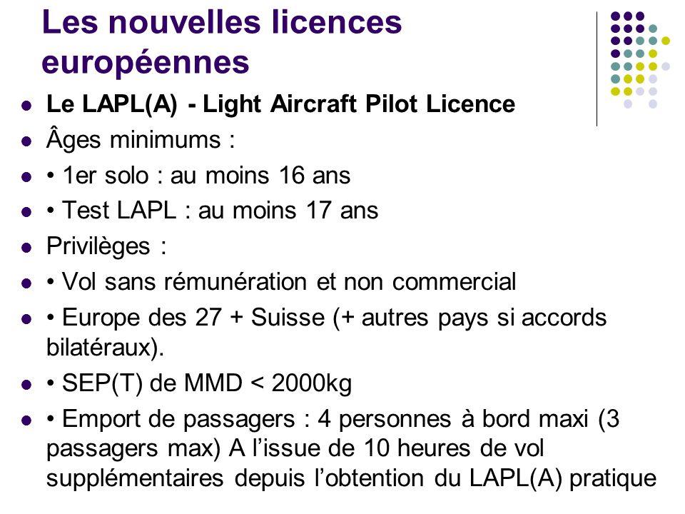 Les nouvelles licences européennes Le LAPL(A) - Light Aircraft Pilot Licence Âges minimums : 1er solo : au moins 16 ans Test LAPL : au moins 17 ans Pr