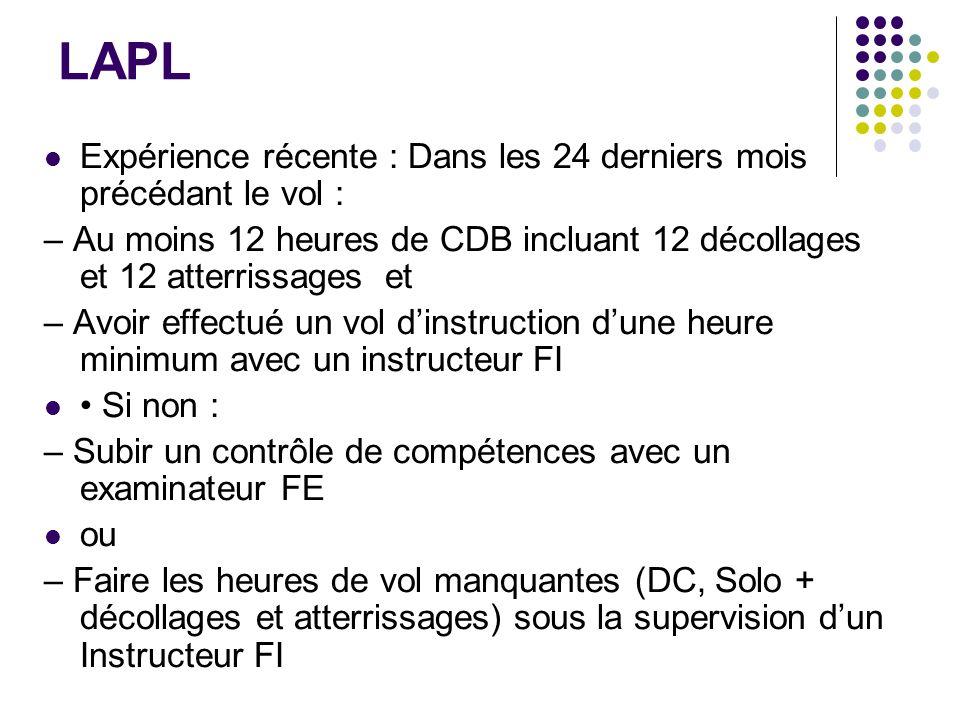 LAPL Expérience récente : Dans les 24 derniers mois précédant le vol : – Au moins 12 heures de CDB incluant 12 décollages et 12 atterrissages et – Avo