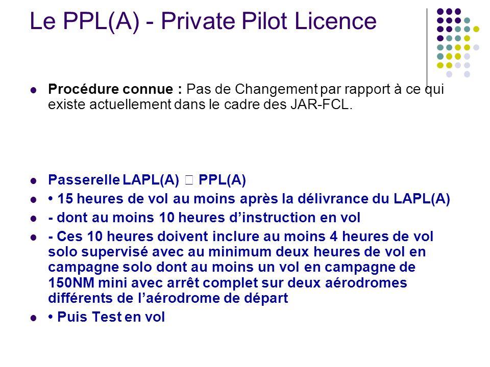 Le PPL(A) - Private Pilot Licence Procédure connue : Pas de Changement par rapport à ce qui existe actuellement dans le cadre des JAR-FCL. Passerelle