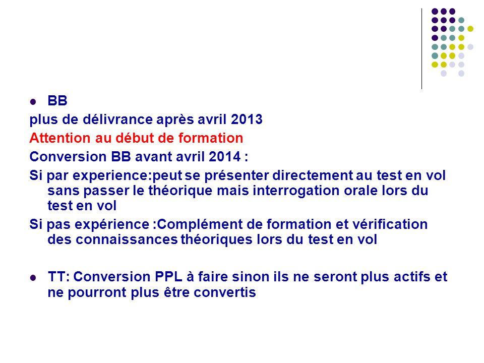 BB plus de délivrance après avril 2013 Attention au début de formation Conversion BB avant avril 2014 : Si par experience:peut se présenter directemen