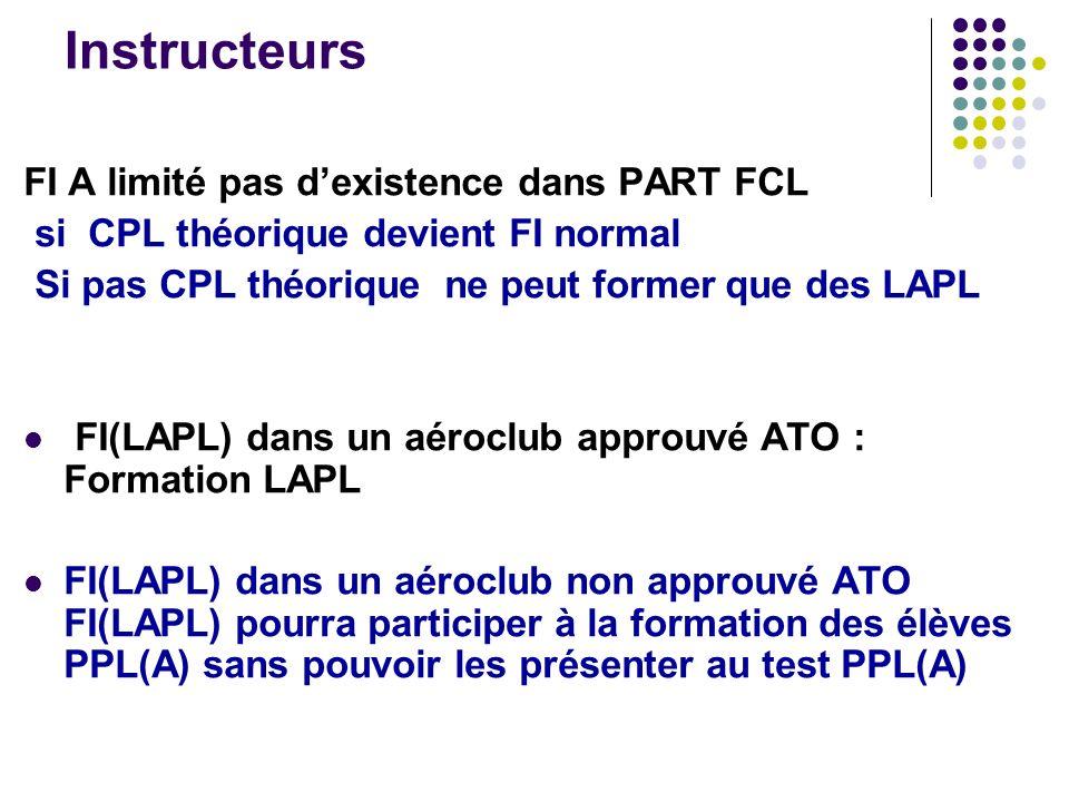Instructeurs FI A limité pas dexistence dans PART FCL si CPL théorique devient FI normal Si pas CPL théorique ne peut former que des LAPL FI(LAPL) dan