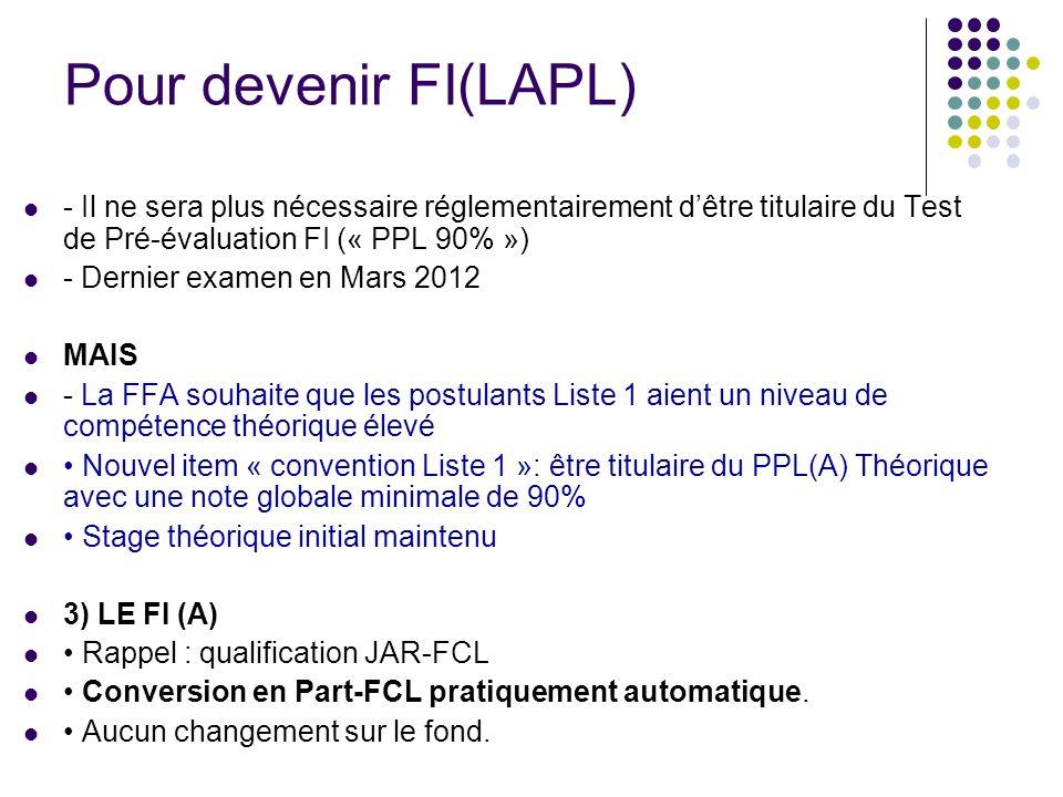 Pour devenir FI(LAPL) - Il ne sera plus nécessaire réglementairement dêtre titulaire du Test de Pré-évaluation FI (« PPL 90% ») - Dernier examen en Ma