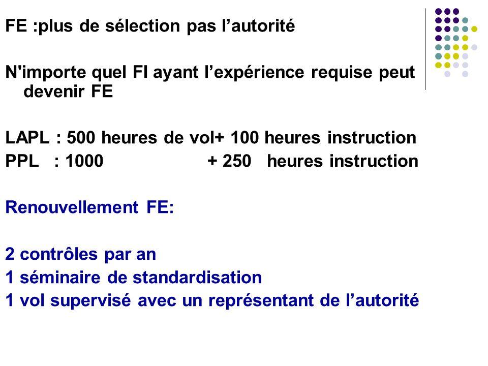 FE :plus de sélection pas lautorité N'importe quel FI ayant lexpérience requise peut devenir FE LAPL : 500 heures de vol+ 100 heures instruction PPL :