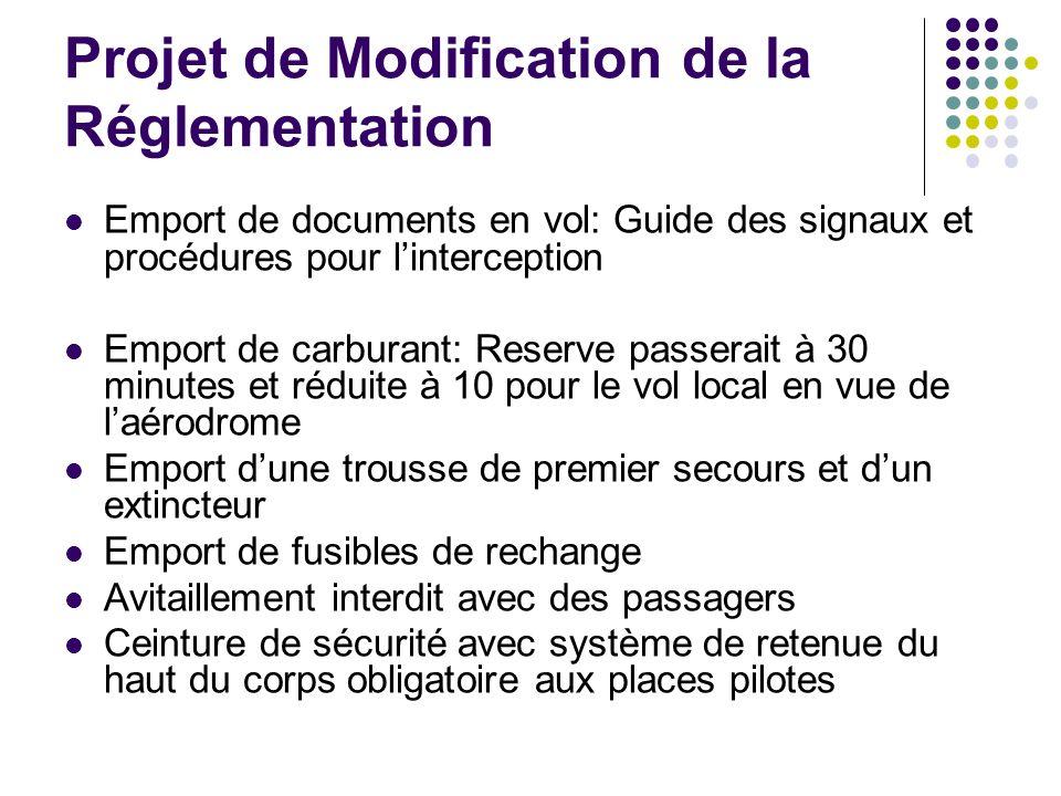 Projet de Modification de la Réglementation Emport de documents en vol: Guide des signaux et procédures pour linterception Emport de carburant: Reserv