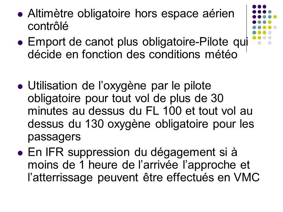 Altimètre obligatoire hors espace aérien contrôlé Emport de canot plus obligatoire-Pilote qui décide en fonction des conditions météo Utilisation de l