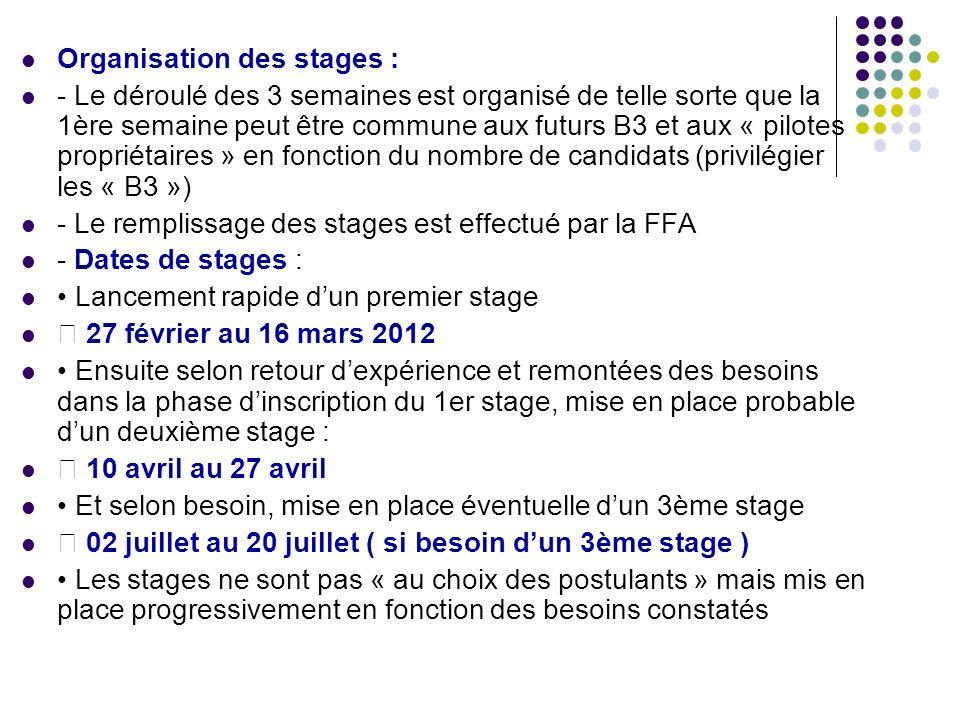 Organisation des stages : - Le déroulé des 3 semaines est organisé de telle sorte que la 1ère semaine peut être commune aux futurs B3 et aux « pilotes