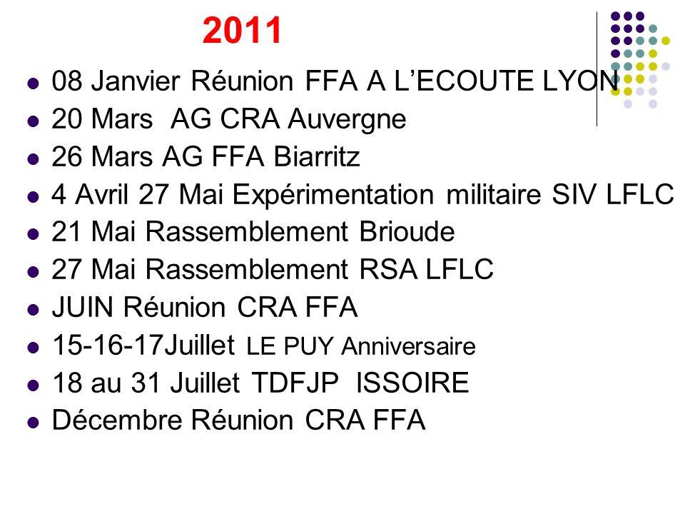 2011 08 Janvier Réunion FFA A LECOUTE LYON 20 Mars AG CRA Auvergne 26 Mars AG FFA Biarritz 4 Avril 27 Mai Expérimentation militaire SIV LFLC 21 Mai Ra