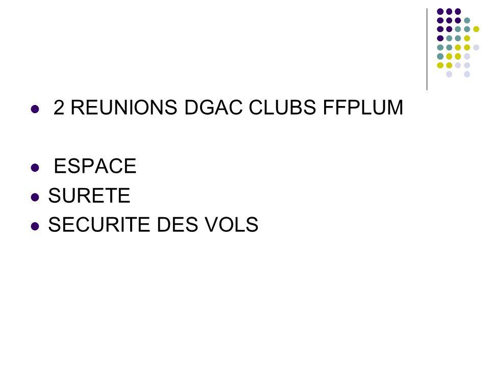 2 REUNIONS DGAC CLUBS FFPLUM ESPACE SURETE SECURITE DES VOLS