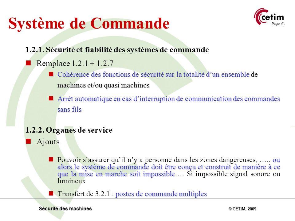Page 23 Sécurité des machines © CETIM, 2009 Système de Commande 1.2.1.