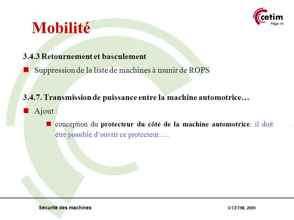 Page 30 Sécurité des machines © CETIM, 2009 Mobilité 3.4.3 Retournement et basculement Suppression de la liste de machines à munir de ROPS 3.4.7.