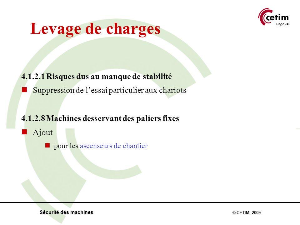 Page 32 Sécurité des machines © CETIM, 2009 Levage de charges 4.1.2.1 Risques dus au manque de stabilité Suppression de lessai particulier aux chariots 4.1.2.8 Machines desservant des paliers fixes Ajout pour les ascenseurs de chantier