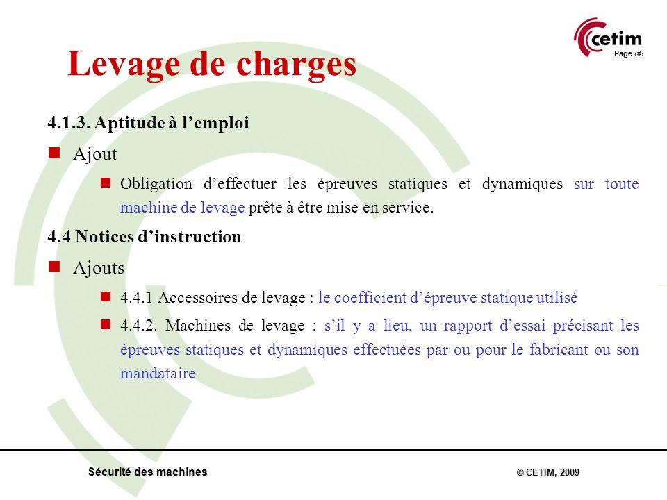 Page 33 Sécurité des machines © CETIM, 2009 Levage de charges 4.1.3.