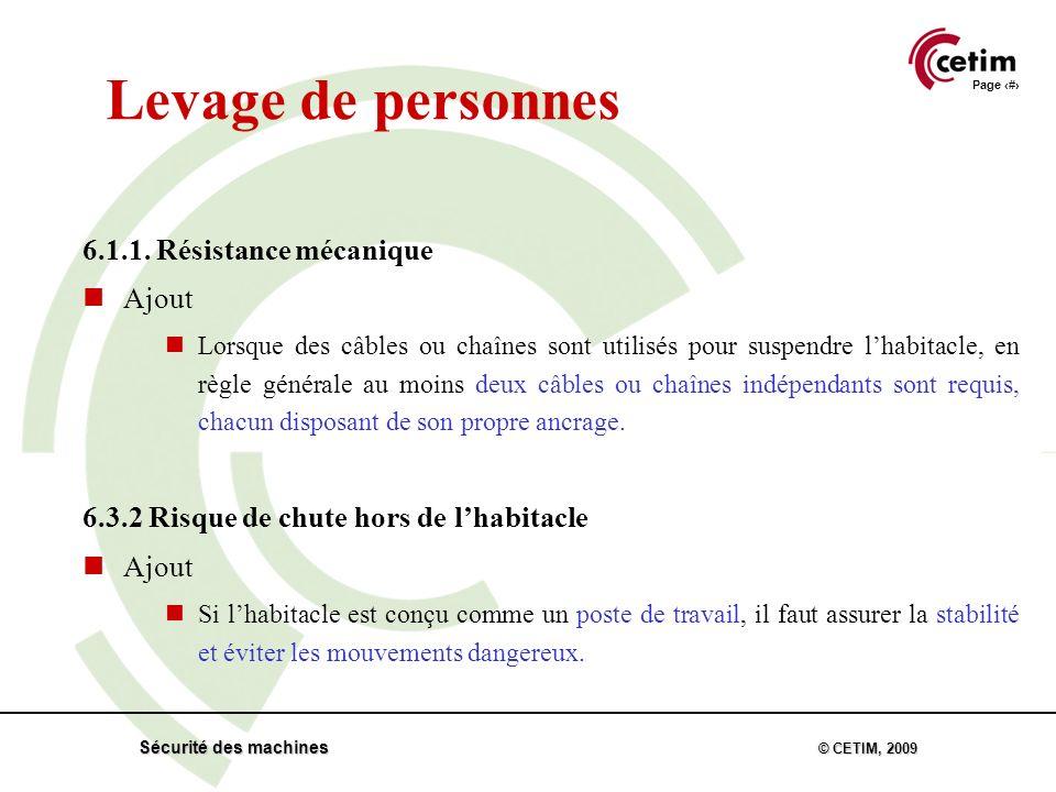 Page 34 Sécurité des machines © CETIM, 2009 Levage de personnes 6.1.1.