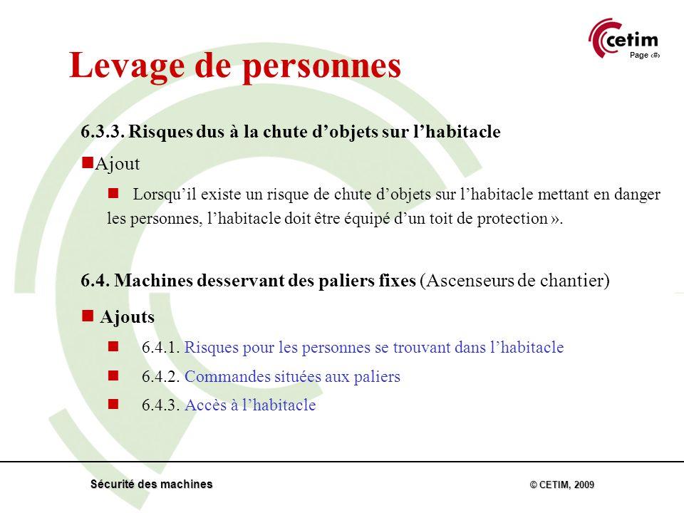 Page 35 Sécurité des machines © CETIM, 2009 Levage de personnes 6.3.3.