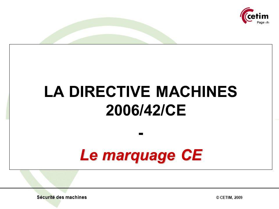 Page 55 Sécurité des machines © CETIM, 2009 LA DIRECTIVE MACHINES 2006/42/CE - Le marquage CE