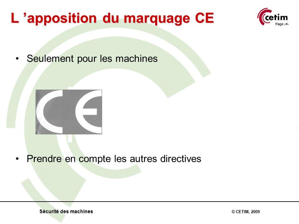 Page 56 Sécurité des machines © CETIM, 2009 Seulement pour les machines Prendre en compte les autres directives L apposition du marquage CE
