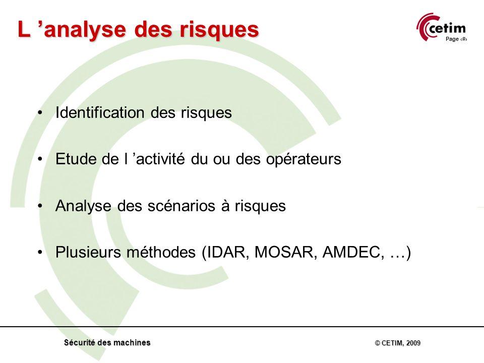 Page 60 Sécurité des machines © CETIM, 2009 Identification des risques Etude de l activité du ou des opérateurs Analyse des scénarios à risques Plusieurs méthodes (IDAR, MOSAR, AMDEC, …) L analyse des risques