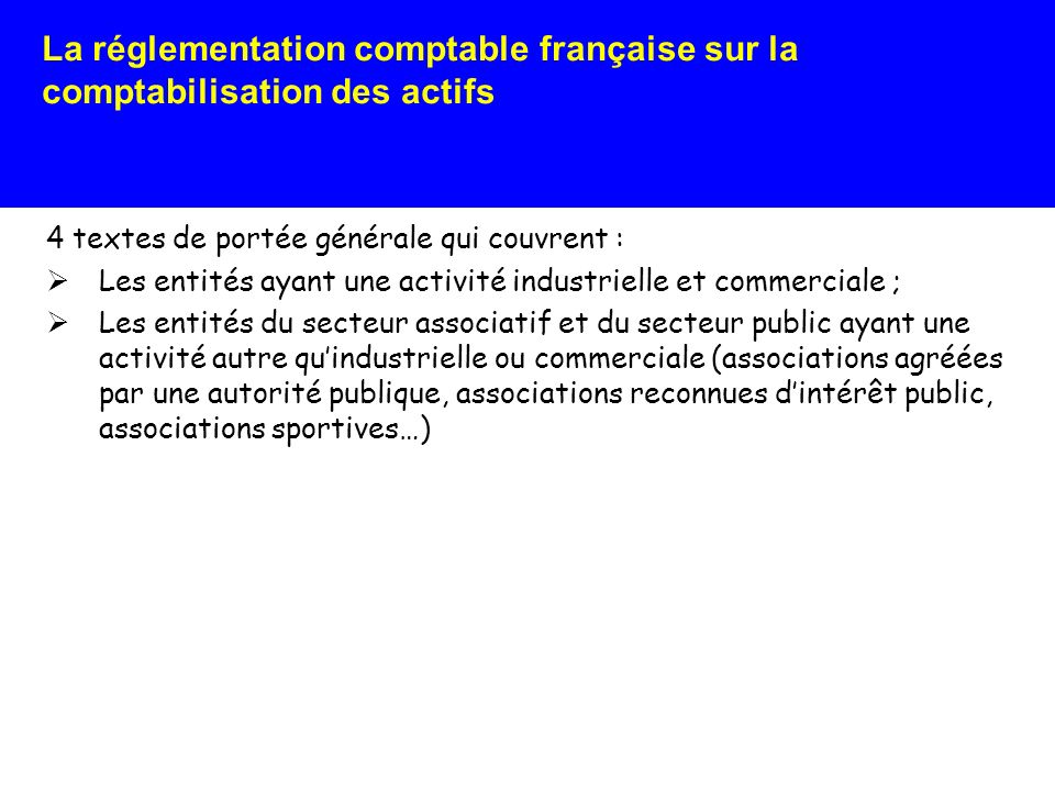 La réglementation comptable française sur la comptabilisation des actifs 4 textes de portée générale qui trouvent à sappliquer : Dans les comptes individuels ; Dans les comptes consolidés Pour les exercices ouverts à compter du 1er janvier 2005