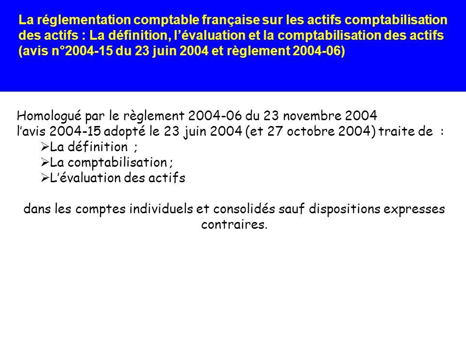 La réglementation comptable française sur les actifs comptabilisation des actifs : La définition, lévaluation et la comptabilisation des actifs (avis n°2004-15 du 23 juin 2004 et règlement 2004-06) Par alignement avec IAS 23, le traitement comptable choisi doit sappliquer, de manière permanente, à tous les coûts demprunt et à tous les actifs éligibles.