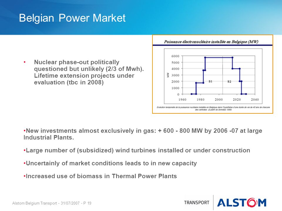Alstom Belgium Transport - 31/07/2007 - P 19 Belgian Power Market Nuclear phase-out politically questioned but unlikely (2/3 of Mwh). Lifetime extensi