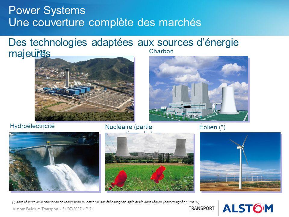 Alstom Belgium Transport - 31/07/2007 - P 21 Des technologies adaptées aux sources dénergie majeures Power Systems Une couverture complète des marchés