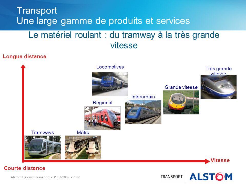 Alstom Belgium Transport - 31/07/2007 - P 42 Transport Une large gamme de produits et services Le matériel roulant : du tramway à la très grande vites