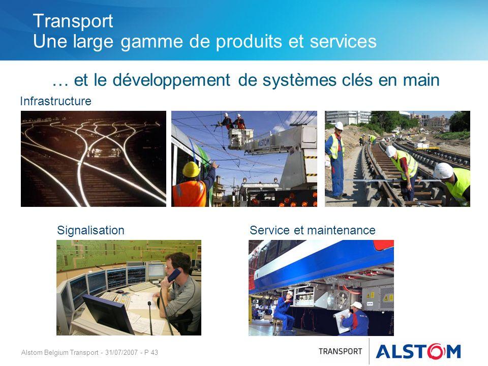 Alstom Belgium Transport - 31/07/2007 - P 43 Transport Une large gamme de produits et services … et le développement de systèmes clés en main Signalis