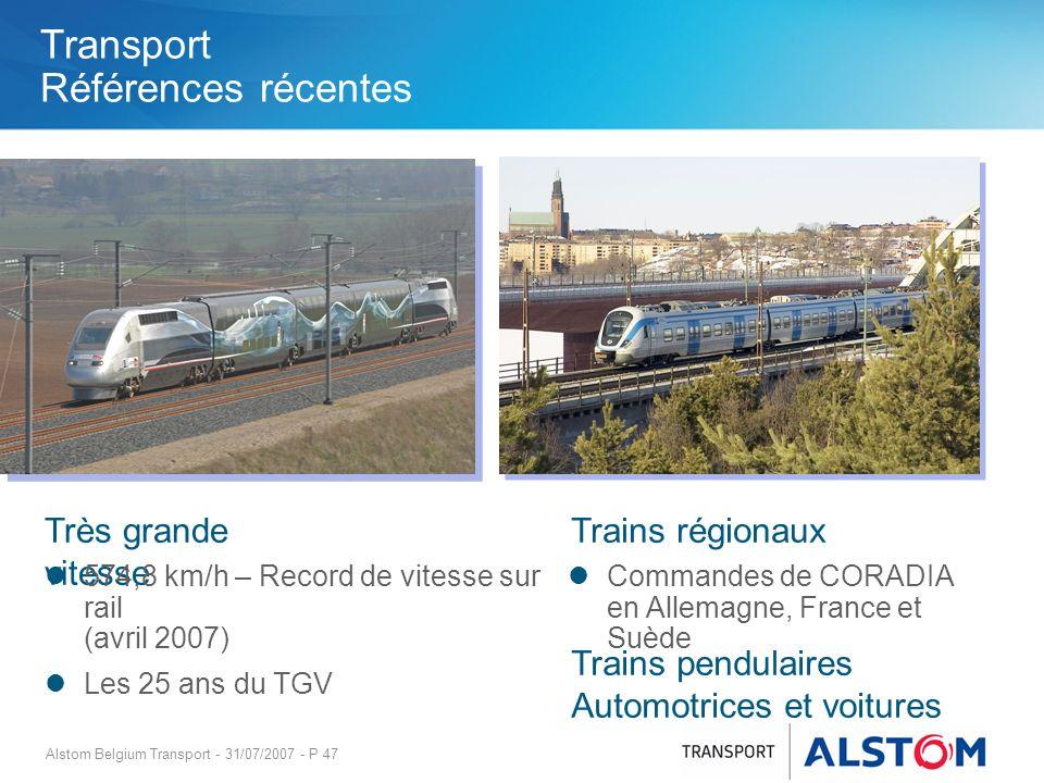 Alstom Belgium Transport - 31/07/2007 - P 47 Très grande vitesse Commandes de CORADIA en Allemagne, France et Suède 574,8 km/h – Record de vitesse sur