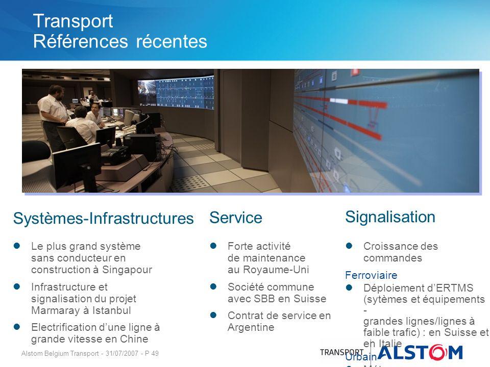 Alstom Belgium Transport - 31/07/2007 - P 49 Systèmes-Infrastructures Service Signalisation Forte activité de maintenance au Royaume-Uni Société commu
