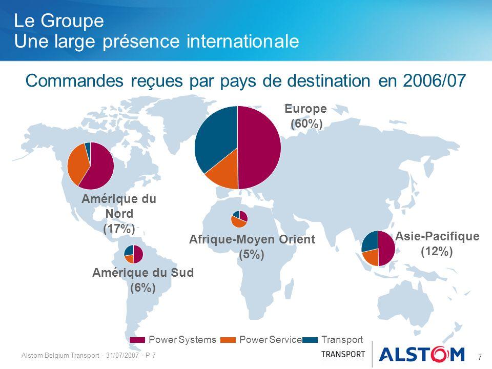 Alstom Belgium Transport - 31/07/2007 - P 7 Le Groupe Une large présence internationale Afrique-Moyen Orient (5%) Amérique du Sud (6%) Asie-Pacifique