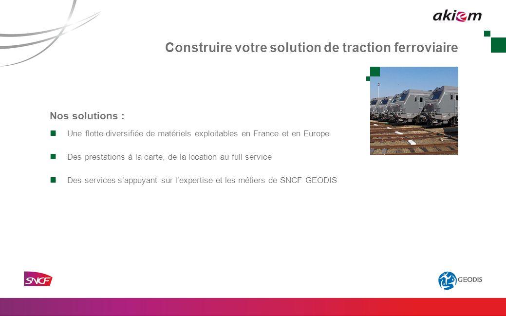 Nos solutions : Une flotte diversifiée de matériels exploitables en France et en Europe Des prestations à la carte, de la location au full service Des services sappuyant sur lexpertise et les métiers de SNCF GEODIS Construire votre solution de traction ferroviaire