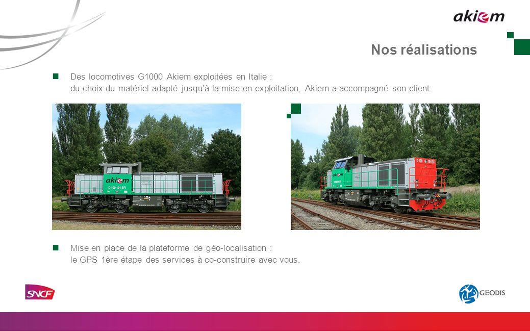 Nos réalisations Des locomotives G1000 Akiem exploitées en Italie : du choix du matériel adapté jusquà la mise en exploitation, Akiem a accompagné son client.