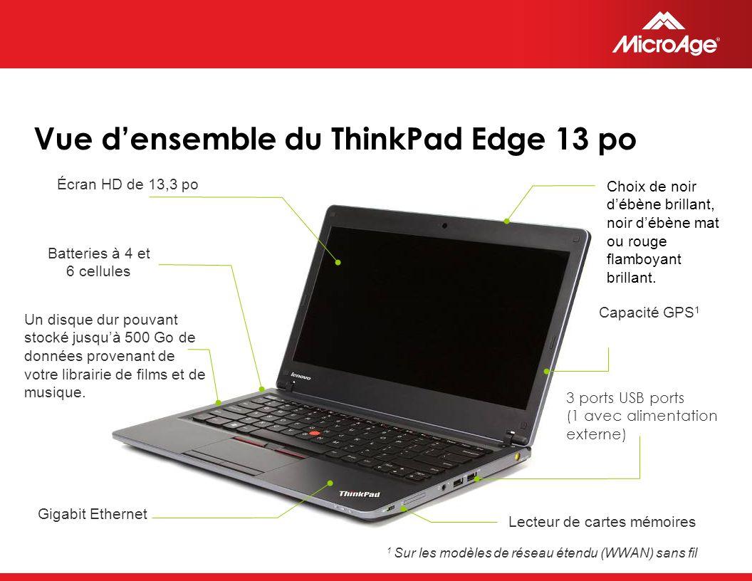 © 2006 MicroAge Vue densemble du ThinkPad Edge 13 po 3 ports USB ports (1 avec alimentation externe) Capacité GPS 1 Choix de noir débène brillant, noir débène mat ou rouge flamboyant brillant.